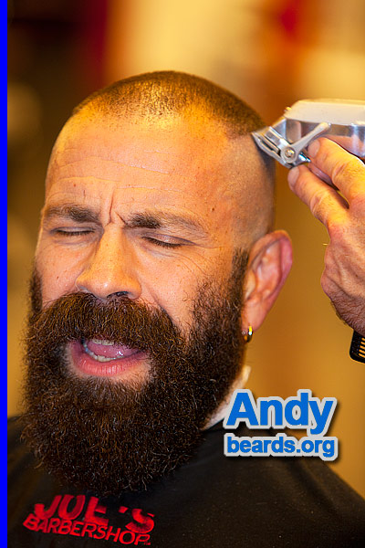 Andy getting his beard trimmed.