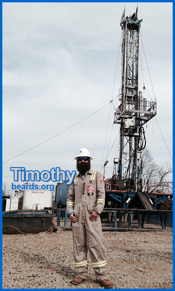Timothy at a drilling rig on a geology class trip.